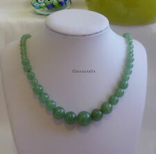 Genuine Natural green Dongling Jade 7-14mm beads tower necklace about L47-8cm