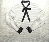 ZARA BASIC WOMEN'S NAVY BLUE WHITE STRIPED PUSSY BOW LONG SLEEVE TOP BLOUSE M