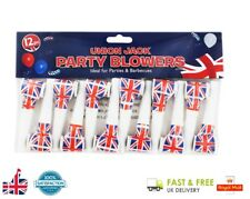 12x UNION JACK PARTY BLOWERS Royal Wedding Party Blowouts Loot Bag Filler Toy UK