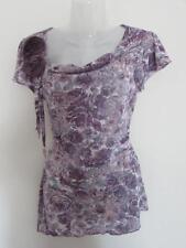 M & S PER UNA Ladies Purple Floral Semi Sheer Top Applique Rose Trim Size 12 VGC