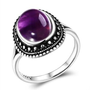 925 Silver Rings Natural Amethyst Gemstone Ring Wedding Anniversary Gift Jewelry