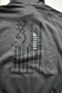 New Men's Browning Buckmark Paint Stroke Flag Sweatshirt Hoodie XXL 2XL Charcoal