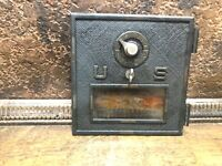 "Antique 1900 Brass US Post Office Mail Box Door ~ 5.5"" BY 5.5"" w window"