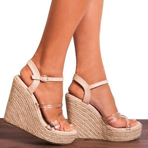 CLEAR NUDE PERSPEX CANVAS ESPADRILLES WEDGED PLATFORMS WEDGES STRAPPY SANDALS