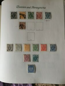 Bosnia Stamps 1879-1918 Lot of Stamps Sets on Album pages.