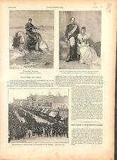 Vélocipède nautique à Hambourg/Prince Frédéric du Danemark/Carnot GRAVURE 1894