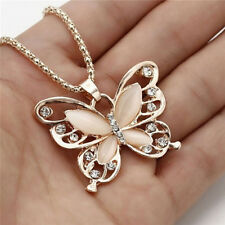 Collier Pendentif Papillon Opale Or Rose Pull Fem9H