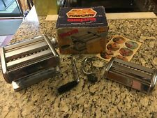 VINTAGE MARCATO 150 PASTA Noodle Maker Machine Stainless Steel Orig Box 2 HEADS