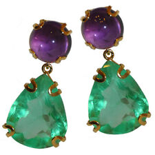 JARIN Gold plated Sterling Amethyst cab Top & Flurite Pear Drop Earrings