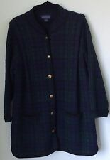 HERMAN GEIST 100% Wool Sweater Coat Size 1X Black Watch Plaid  Brass Buttons