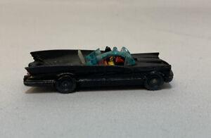 RARE Vintage 1960's Husky Batmobile Die Cast Car Toy w/ Batman & Robin Great Bri