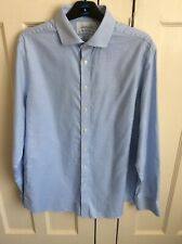 CHARLES TYRWHITT Pale Blue/white Check Cotton Shirt 17/37in Slim Fit