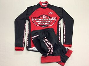 CANNONDALE TWO PIECE VOLER BLACK & RED CYCLING SUIT JERSEY AND SHORTS MENS SMALL