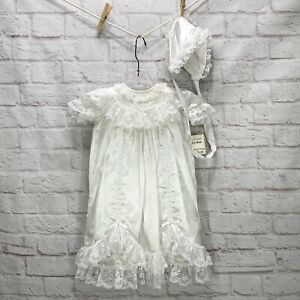 NWT Vintage Christening Gown And Hat Baptism White Lace Satin 6-9 Months New