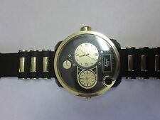 Techno Pave Watch - #6854 - Water Resistant , rubber band , black and gold