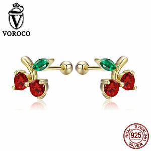 VOROCO Fashion 925 Sterling Silver Gold Palted Cherring Earring Stud For Girls