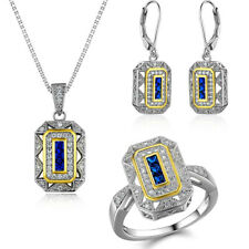 Blue Sapphire Topaz Sterling Silver Ring Pendant Necklace Earrings Jewelry Set