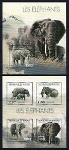 BURUNDI 2012 LES ELEPHANTS LOXODONTA AFRICANA WILD ANIMALS FAUNA STAMPS MNH