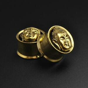 Brass Ear Gauges Flesh Ear Tunnels Brass Buddha Head Double Flare Tunnel