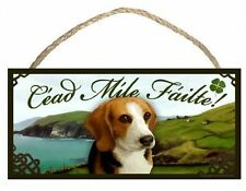 Beagle Irish Welcome Dog Sign/Plaque Céad Míle Fáilte By Scott Rogers