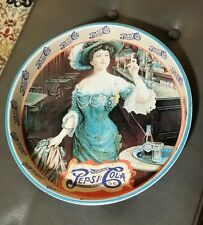 Vintage Pepsi-Cola Tin Girl Oval Serving Tray Colorful