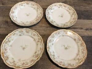 Lot Set 4 Haviland Limoges Schleiger Pink Roses Double Gold Rim Dinner Plates