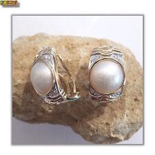 Perlen Ohrringe Ohrstecker mit Diamanten und Mabe Perle 585 Gold 14k Gelbgold