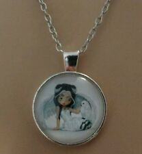 WHITE OWL AND GIRL CABOCHON DOME TIBET SILVER PENDANT NECKLACE NEW ADULT / KIDS