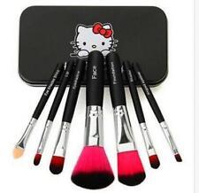 Black Hello Kitty Cosmetic Makeup Brush 7 Pcs Set Kit Box Pouch Bag Case