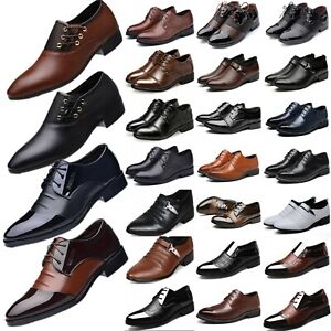 Men Formal Dress Leather Oxfords Shoes Business Pointed Wedding Work Shoes Size