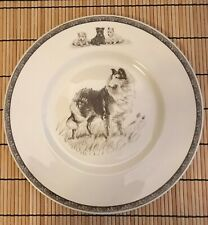 """Wedgwood Queens Ware Dogs Plate, Collie """"Highland Chiefs"""" Kirmse Etching, 10.75"""""""