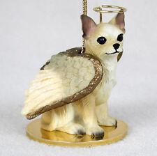 Chihuahua Dog Figurine Ornament Angel Statue Hand Painted Wht/Tan