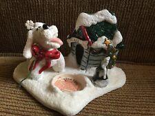 Blue Sky Clayworks Heather Goldminc - Flake the Dog - Christmas Candle Holder