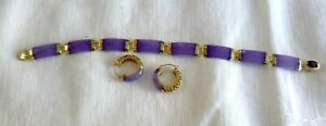 Gorgeous 14K Gold Lavender Jade Bracelet Earrings Set Amethyst Clasp Signed HI