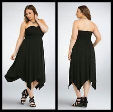 c9b69c21305be Torrid Womens Tube Dress Size 00 Medium Black Smocked Handkerchief (30-29)