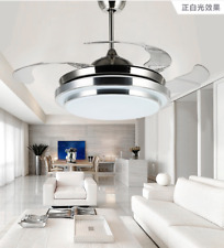 "42"" Modern Remote Control Invisible Fan Ceiling Light LED Fan Lamp Chandelier"