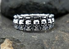 mm Wide In 925 Sterling silver Gothic Skulls and Stars Wedding Band 8