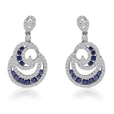 14k White Gold Diamond and Sapphire Earrings