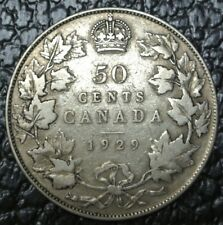 OLD CANADIAN COIN 1929 - 50 CENTS - .800 SILVER - George V - Nice DETAILS
