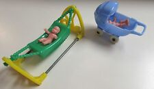 VINTAGE CHILD'S DOLLHOUSE FURNITURE RENWAL ACME BABIES HAMMOCK I-167 & BUGGY