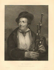 Bagpiper, Musician, Instrument, Fashion, Vintage, 1852 Antique Art Print. Rare.