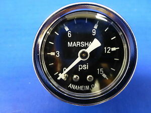 "Marshall Gauge 0-15 psi Fuel Pressure Oil Pressure Gauge Black 1.5"" Diameter"