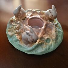 VINTAGE SYLVAC POTTERY #1312 - Bunnies at Play Posy Vase in beautiful condition
