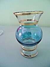 "VASE,4"" BULB VASE CLEAR AND BLUE WITH GOLD TRIM,GOOD CONDITION"