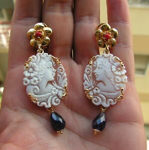 Vintage Silver 925 Yellow Gold Carved Cameo Shell Earrings Coral Pearl Amethyst