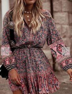INDIAN PAISLEY STYLE GYPSY HIPPY ETHNIC PRAIRIE BOHO STYLE short DRESS SIZE XL