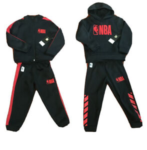 NWT NBA Boys 2 PC Jogging/Track Set, Black & Red, Zip-up or Hoodie Size 4 or 5/6