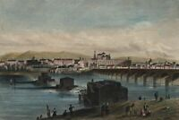 Cordoba Spain city view c.1845-55 engraved old hand color view print