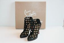 $1295 Christian Louboutin CAJABOOT 100 Leather Suede Black Cage Ankle Booties