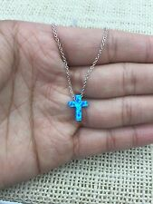 "Blue Opal Small Cross 925 Sterling Silver  Necklace 16""-18"""